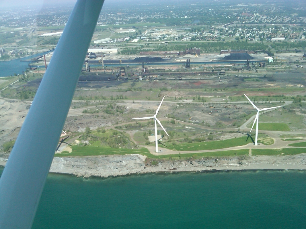 In flight photo of wind turbines