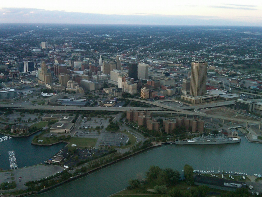 In flight photo of downtown Buffalo