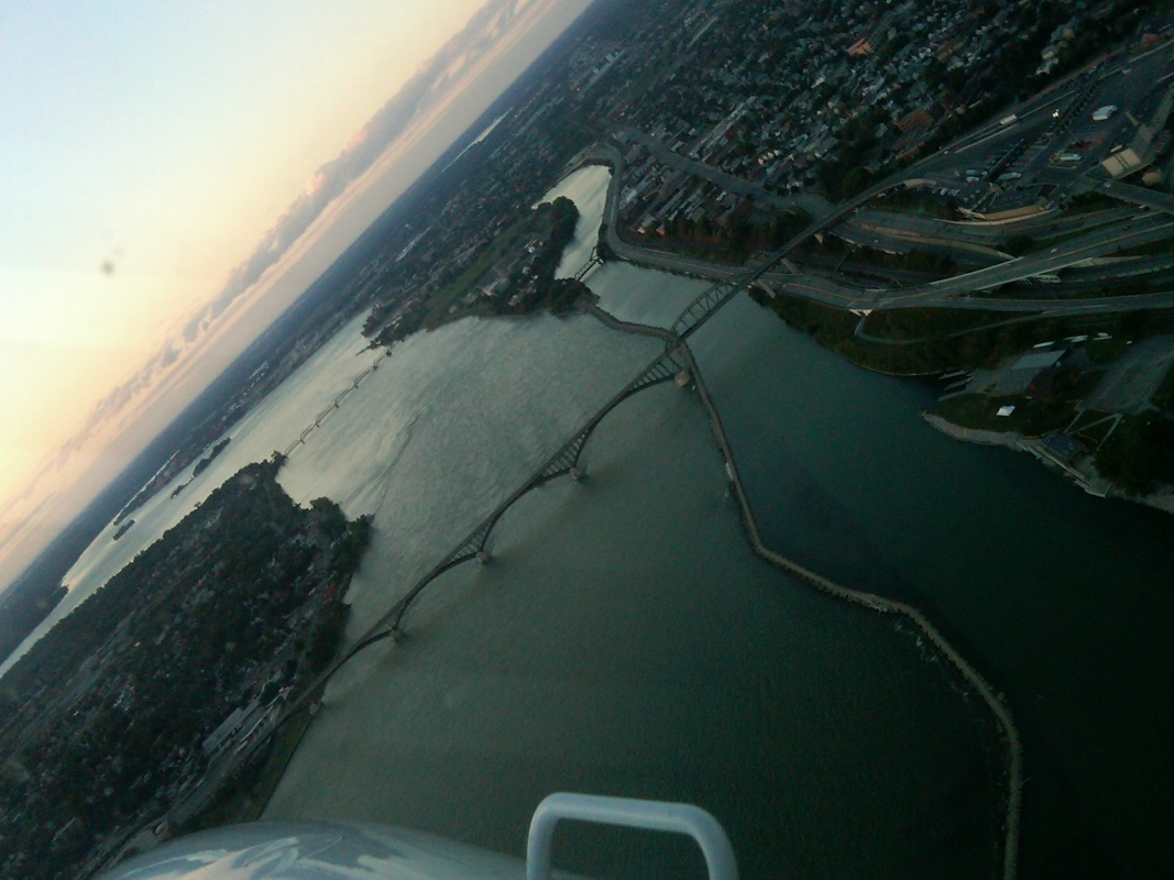 In flight photo of Peace Bridge